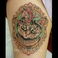 tatouage Chat New-School