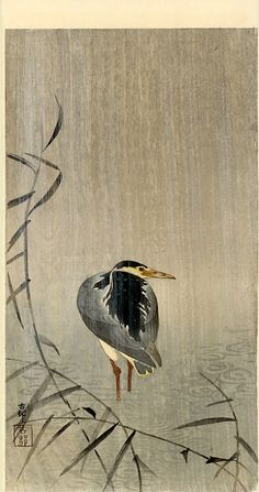 """Heron in Downpour - by Ohara Koson (1877-1945): Japanese Painter Printmaker late 19th early 20th centuries; part of shin-hanga (""""new prints"""") movement. http://www.wikipaintings.org/en/ohara-koson/heron-in-downpour"""