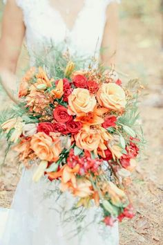 Divine bouquet of roses and wild flowers