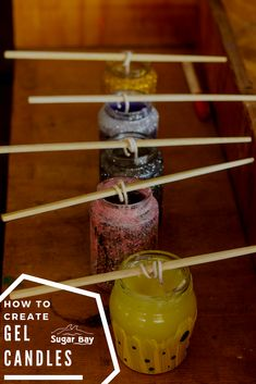 Make home-made embedded gel candles in 8 simple steps. Gel Candles, Camping Crafts, Types Of Art, Craft Activities, Arts And Crafts, Homemade, Create, Simple, How To Make
