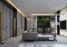 Leisure house in Miami by YoDezeen 01 Living room, ideas, apartment, design, furniture, interior, room, decoration, house, home, indoor, cabinet.