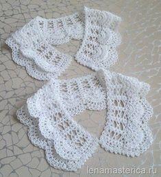 Lovely crochet lace collars, charts available on this page ~ Съемный ажурный воротничок, схема. Crochet Collar Pattern, Col Crochet, Crochet Lace Collar, Gilet Crochet, Crochet Stitches Patterns, Crochet Blouse, Irish Crochet, Crochet Designs, Crochet Baby