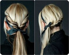 7 Easy and Chic Ponytail Hairstyle for Girls Back to School low ponytail with ribbon and black hair extensions clip in