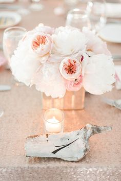 photo: Brklyn View Photography; Simple chic blush wedding centerpiece idea;