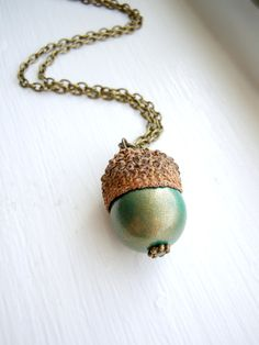 Acorn Necklace - Acorn Jewelry, Juniper Berry, Spruce, Acorn, Teal Green, Gold - Woodland Collection.