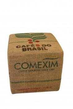 Upcycled burlap coffee sack ottoman