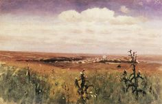 Steppe 1875 Wood Print by Kuindzhi Arkhip. All wood prints are professionally printed, packaged, and shipped within 3 - 4 business days and delivered ready-to-hang on your wall. Russian Landscape, Russian Painting, Art Database, Expo, Art World, Great Artists, Landscape Paintings, Landscapes, Oil On Canvas