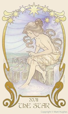 The Star tarot card from the tarot deck by Art Nouveau artist Matt Hughes.