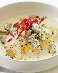 Seared Cod with Spicy Mussel Aioli: From Eric Ripert of Manhattan's Le Bernardin comes this simple, sophisticated dish that relies on store-bought mayonnaise to enrich the sublime garlicky mussel sauce. Fish Dishes, Seafood Dishes, Fish And Seafood, Seafood Recipes, Mussel Recipes, Shellfish Recipes, Cod Recipes, Wrap Recipes, Cooking Recipes