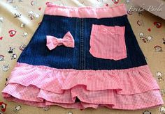 Erika Paola: Mini falda de niñas hecha con un par de jeans reciclados.
