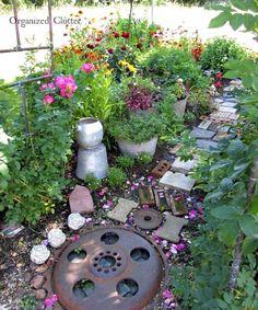 Yard of Flowers: Annuals, Perennials & a Junk Art Garden Pathway :: Hometalk Rustic Gardens, Outdoor Gardens, Cottage Gardens, Hanging Herbs, Garden Projects, Garden Ideas, Outdoor Projects, Garden Inspiration, Wood Projects