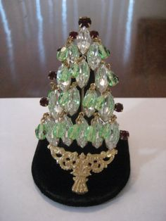 Fine Vintage Miriam Haskell Rhinestone Christmas Tree Pin Brooch