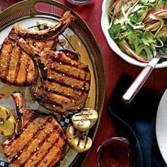 The key to success here is to brush the Apple-Bourbon Glaze on the chops during the last few minutes on the grill, turning and brushing often to create a layered, lacquered look. Garnish the chops with grilled halves of small apples brushed with the glaze.
