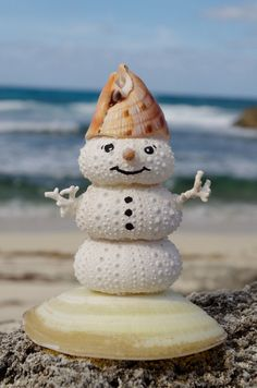 Giant Smiling Sea Urchin Snowman with Sea Shell by ShellsforSharks