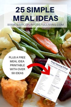 25 simple and easy meal ideas for your weekly meal plan. Plus a free meal idea printable to help you meal plan. Care Skin Condition and Treatment Oil Makeup Monthly Meal Planning, Family Meal Planning, Meal Planner, Menu Planning, Easy Family Meals, Easy Meals, Frugal Meals, Turkey Lunch Meat, Homemade Chicken Salads