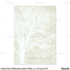 "Cream Tree Silhouette winter Wedding Invitations 5"" X 7"" Invitation Card"