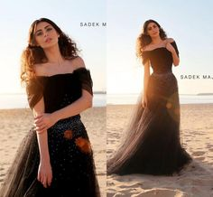 Off the Shoulder Prom Dresses 2015 Black Tulle with Beads A Line Floor Length Short Sleeve Evening Gowns Vintage Party Dress Formal Gown, $102.88 | DHgate.com