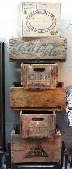 vintage drink crates
