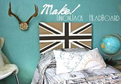 DIY Boy Bedroom with Union Jack Headboard for Noah Union Jack Decor, Diy Kids Furniture, Pallet Furniture, Teen Girl Bedrooms, Blue Bedrooms, Teen Bedroom, Bedroom Ideas, Embroidered Pillowcases, Diy Headboards