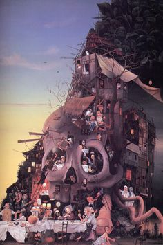 Neo-Surrealistic Oil Painting by Jacques Resch titled, Tete Morte (literally translates to Head Dead)