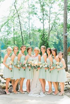 My bridesmaids will be in short dresses by donna morgan in this beachgrass color, each gets to pick out their own style that fits their body & personality!