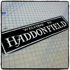 halloween welcome to haddonfield aluminum sign