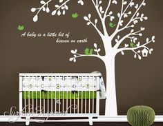 cute bird tree with Custom phrase leaf leaves birds home Art Decals Wall Sticker Vinyl Wall Decal stickers living room bed baby room 665. $79.00, via Etsy.