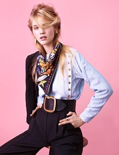 """Hanna Wahmer in Marie Claire Italia, Feb 2012. """"Urban Western."""" An asymmetric blouse styled like a man's Edwardian shirt, high-waist trousers, super-wide belt, square scarf."""