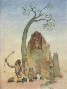 Kala Ksetram, Ekalavya and Drona deity, by Nandalal Bose