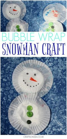 This snowman bubble wrap craft is a great winter activity for kids that helps with fine motor skills too or you could use it to make Christmas cards! #winteractivities #snowman #snowmancrafts #kidsactivities