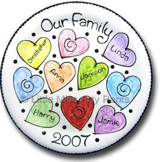 """Little Miss Arty Pants - Personalized Pottery -  """"Our Family"""" - Family Plate - www.LittleMissArtyPants.com"""