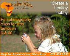 We have a fun educational week planned for the School Holidays. Help your little one find their creative side with the help of our Photography class. Helping them focus on what to look for in a photo and how to get the best shot. Exclusively available for kids between 6 and 60!! Feed your creative side  Bookings are essential. For details email Carol-Anne at res@amber-africa.com #amberafrica #photography #schoolholiday