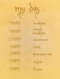 Hobbit Eating Schedule