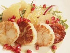 Seared Scallops with Citrus, Arugula and Pomegranate Salad from FoodNetwork.com