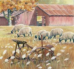 Grazing Days-Sheep by Susan D. Bourdet.