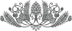 urbanthreads hops and grain crest hand embroidery pattern Folk Embroidery, Hand Embroidery Patterns, Cross Stitch Embroidery, Easy Drawings, Tattoo Drawings, Beer Images, Thistle Tattoo, Urban Threads, Floral Drawing