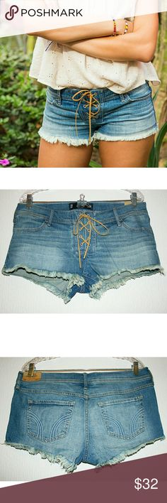 "Suede Lace-Up Low Rise Frayed Denim Shorts NWT These medium wash low rise short-shorts are so adorable and sexy at the same time! I love the 70s-esque suede lace-up front closure. They are also lightly distressed with fully frayed hems and feature 4 standard pockets. Rock 'em with a cute floral crop top or flowy boho blouse! The denim is 99% cotton and 1% elastane. The waist is 31"". I'm happy to provide additional measurements upon request! Hollister Shorts Jean Shorts"