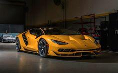 Scarica sfondi Lamborghini Centenario, 2017 cars, garage, supercars, yellow Centenario, Lamborghini
