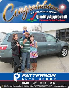 Congratulations to Ashley and Dustin Lamb on their new vehicle! - From Brittany McWhirter at Patterson Auto Center.