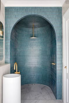 Toilet Roll Holder Brass, Shower Alcove, Double Towel Rail, Three Birds Renovations, Contemporary Doors, Architrave, Oval Mirror, Master Bathroom, Bathroom Inspo