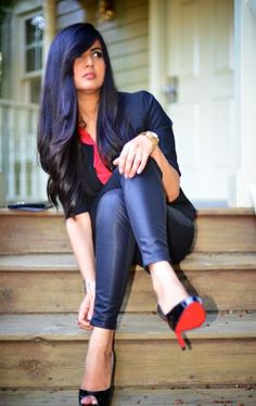 Color Block Top with Faux Leather Pants and Christian Louboutin Black Pumps