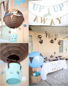 Up and Away Hot Air Balloon Theme Blue Brown Baby Shower - maybe add other things that fly too...birds, planes, helicopter...