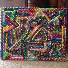 Mardi Gras bead art canvas created by Kelly McCracken.Mardi Gras bead art canvas created by Kelly McCracken., art Bead canvas created Gras Mardi Gras beads - I have so many Bead Crafts, Fun Crafts, Arts And Crafts, Mosaic Projects, Craft Projects, Craft Ideas, Beads Pictures, Mardi Gras Beads, Button Art