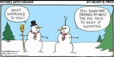 PT humor - snowman keeps arm elevated