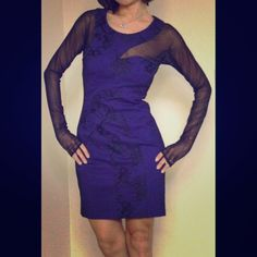 Bcbg blue lace sheath dress Mystery black sheer on blue . Capture the night with this beauty. BCBGMaxAzria Dresses