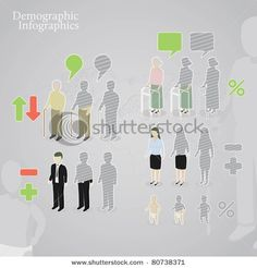 Stock Vector Illustration:  Demographic infographics. People icons including man, woman, old man, old woman and baby made in a different styles. plus operation signs and speech bubbles.