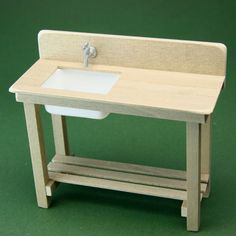 Make Simple Tables for Dolls House or Scale Model Scenes  - like this one modified with backsplash and sink to make a potting bench