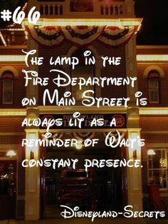 Have you ever seen the lamp in the second story of the Fire Department? Well, Walt Disney actually lived up in that space on occasion. Ever since his death, the park has kept the lamp lit for all. Disneyland Secrets, Disney Secrets, Disney Tips, Disney Memes, Disney Quotes, Disney Magic, Walt Disney, Disneyland Hacks, Disney World Facts