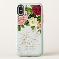 Beautiful vintage flowers and faux gold marble are featured on this custom iPhone X case. #iphonexcase,
