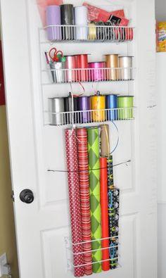 organize gift wrap supplies